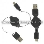 Raztegljiv USB - miniUSB kabel 75cm