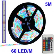 Večbarvni LED trak - 5m komplet (300 LED, daljinec, 230V nap.)