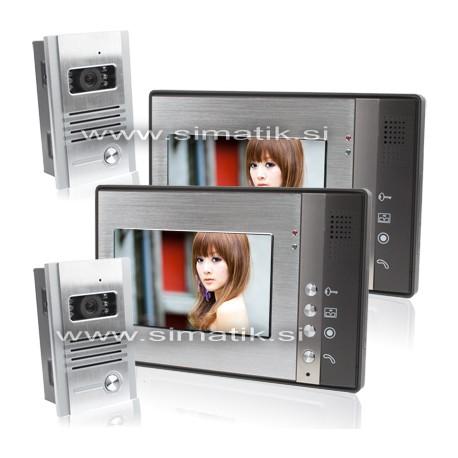 """2x Barvni video domofon z 2x 7"""" LCD ekranom"""