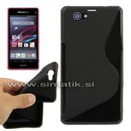 "TPU gel ovitek ""S-Line"" za Sony Xperia Z1 Compact - ČRN  (nedrs"