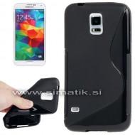 "TPU gel ovitek ""S-Line"" za Samsung Galaxy S5 - ČRN (nedrseč)"