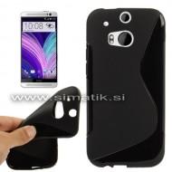 "TPU gel ovitek ""S-Line"" za HTC One M8 - ČRN (nedrseč)"
