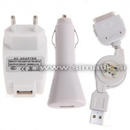 3v1 komplet za Apple iPhone 4 / 4S (2x polnilec + kabel)